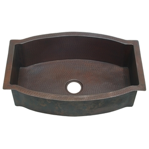 "Copper Kitchen Sink-Single Bowl 33"" Arched Well LARGE by Pure Spa Copper Elements"