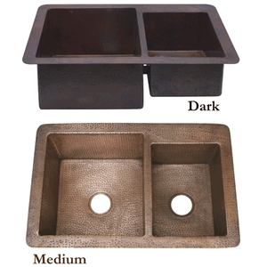 Copper Kitchen Double Well Sink-6040 Split Wells by Pure Spa Copper Elements