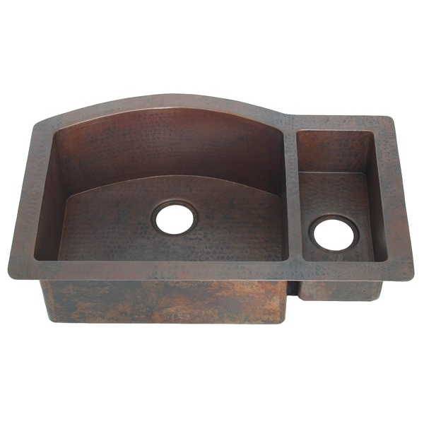 Copper Kitchen Sink-Double Bowl-Rounded Well by Pure Spa Copper Elements