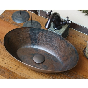 Copper Oval Vessel Sink Flat Bottom Rimless by Pure Spa Copper Elements