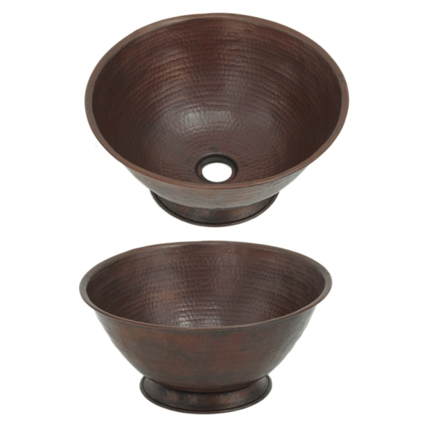Copper Vessel Sink Bowl on Base by Pure Spa Copper Elements