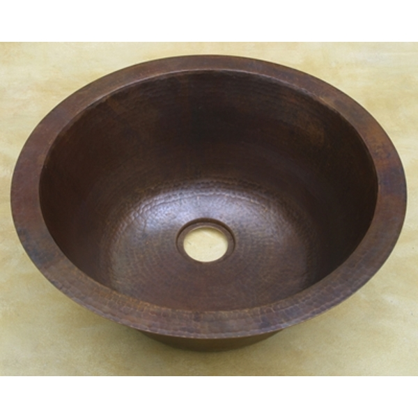 Copper Round BarPrep Sink with Off-Set Drain by Pure Spa Copper Elements
