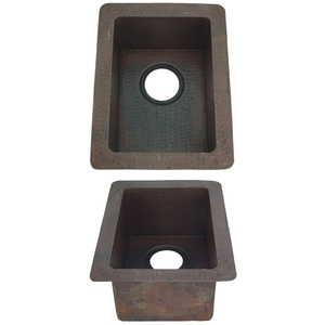 Copper Rectangle BarKitchen Prep Sink by Pure Spa Copper Elements