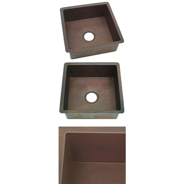 Copper Square BarPrep Sink-Smooth Finish by Pure Spa Copper Elements