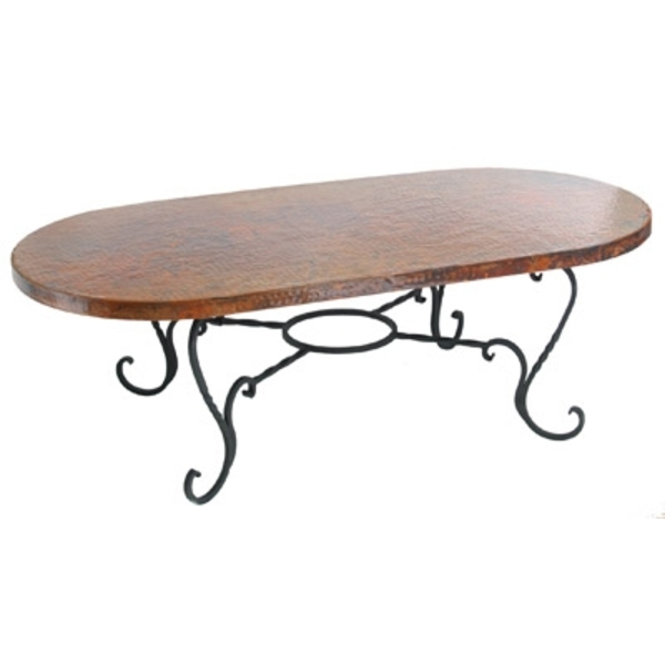 "Copper Oblong Oval Coffee Tabletop 58""x 28"" with Iron Stand by Pure Spa Copper Elements"