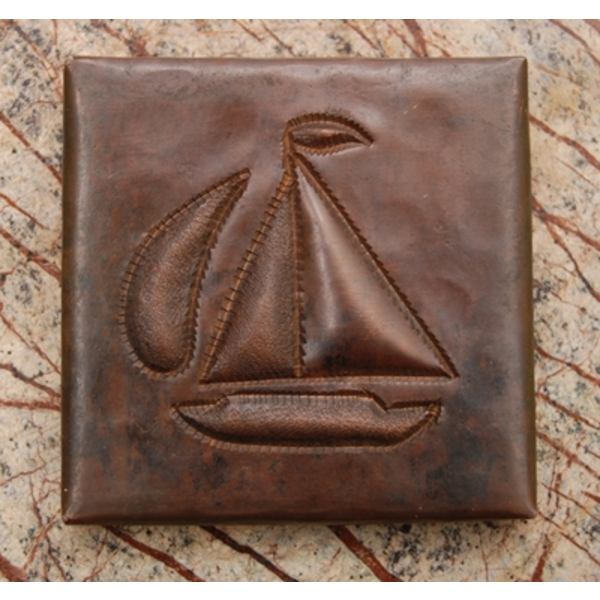 2x2 Sail Boat Tile by Pure Spa Copper Elements