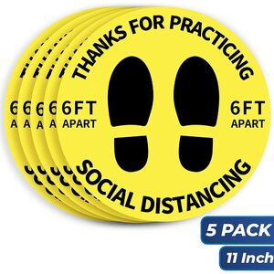 "6 Feet Apart Social Distancing Floor Decals Stickers - 11"" Diameter - Yellow 5 Pack ()"