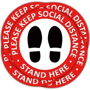 "Social Distancing Floor Decals - 12"" Round Vinyl Removable Stickers - Safety Floor Signs - Please Keep 6 Feet Apart Decal - Waterproof Adhesive Anti-Slip Lamination Easy to Clean - Red 5 Pack ("