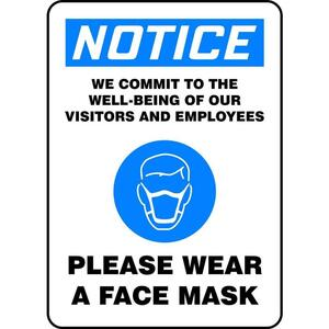 "Notice WE Commit to The Well Being of Our Visitors and Employees - Please WEAR A FACE MASK Adhesive Vinyl Sign 14"" x 10"" ()"