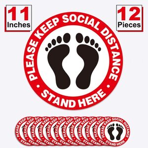 Social Distancing FloorCarpet Decals Stickers - Anti-Slip - Waterproof - Large Size 11'' Diameter ()