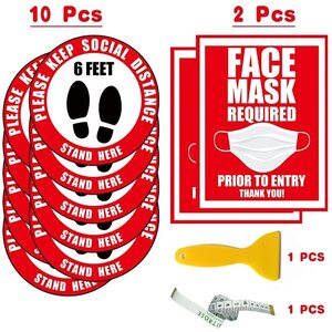 "Social Distancing Bundle (10) 12"" Round Removable Floor Decal Stickers - Red + (2) Window Signs - Red + (1) Tape Measure + (1) Scraper ()"