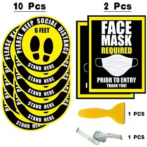 "Social Distancing Bundle (10) 12"" Round Removable Floor Decal Stickers - Yellow + (2) Window Signs - Yellow + (1) Tape Measure + (1) Scraper ()"