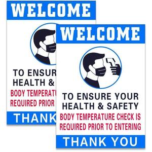 "Body Temperature Check Required Sign 2 7"" x 9.8"" Stickers
