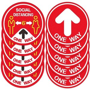 Social Distancing Directional Arrow Decal Stickers for Floors - 11'' Diameter 10 Stickers