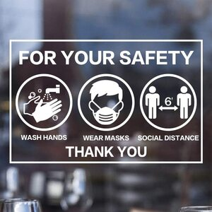 "For Your Safety Wash Hands + Wear Masks + Social Distance Window Stickers - 4"" x 6"" 2 Sticker Pack ()"