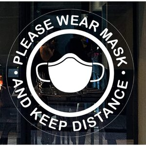 "Please Wear Mask and Keep Distance Window Door Smooth Surface Stickers - 10"" x 10"" Each 5 Pack ()"