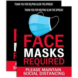 "Face Masks Required - Please Maintain Social Distancing Self-Adhesive Signage - Weather Scratch Water and Fade Resistant - Large 14"" x 11"" Size Pack of 2 ()"