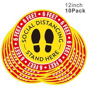"6 Feet Social Distancing Floor Decals - 12"" Diameter - Anti-Slip Waterproof Easy to Clean 10 Pack ()"