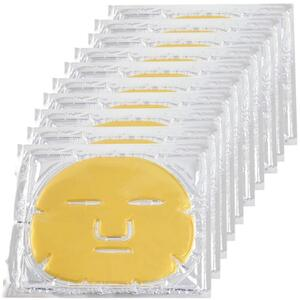 Professional 24k Gold Collagen Gel Facial Masks with Hyaluronic Acid for Tightening Brightening Anti Aging Firming and Hydrating Pack of 10 Masks ()