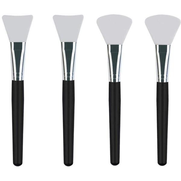 Premium Quality Silicone Face Mask Brushes - Ideal Facial Mask Applicators for Mud Clay Charcoal Mixed Masks and Body Lotion Set of 4 - 2 Styles ()