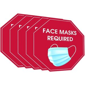 "Face Masks Required - Self-Adhesive Attention Grabbing Safety Signs - Scratch Water and Fade Resistant - 7"" X 7"" 5 Pack ()"
