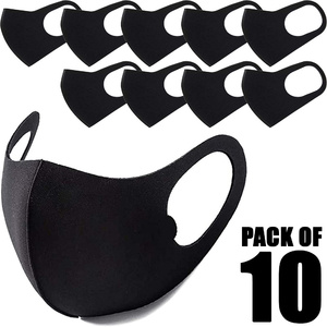 Laser Cut Face Masks - Unisex - Black - Washable + Reusable 10 Pack ()