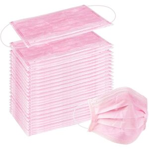 Disposable 3-Ply Earloop Face Masks - Pink 100 Count MEGA Pack - Fashionable Pink Color! ()
