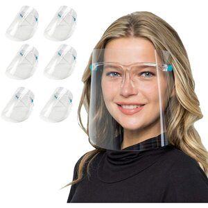 Glasses Style Face Shield Bundle - 6 Reusable Glasses + 12 Replaceable Anti-Fog Shields - Ideal for Men and Women to Protect the Eyes and Face ()