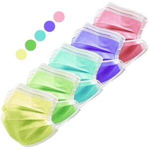 Multicolored Disposable 3-Ply Earloop Face Masks with Nose Clip 5 Colors - (10) Pink + (10) Purple + (10) Yellow + (10) Cyan + (10) Chartreuse Pack of 50 ()