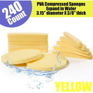 Professional Compressed PVA Facial Sponges - YELLOW 240 Count ()