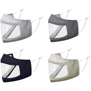 Transparent Front Cotton Face Mask with Nose Wire + Adjustable Earloops - Washable and Reusable Grays + Blues ()
