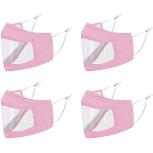 Smile Masks! Transparent Front Cotton Face Mask with Nose Wire + Adjustable Earloops - Washable and Reusable Pink ()