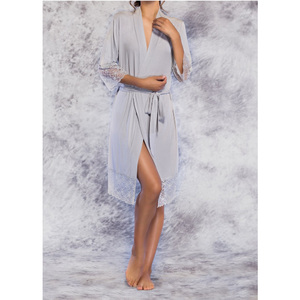 Women's Kimono Robe with Lace Trim | Color: Gray | Material: 100% Bamboo Rayon | Available Sizes: S M L XL (PJ3012GRY)