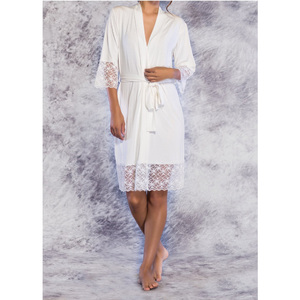 Women's Kimono Robe with Lace Trim | Color: Ivory | Material: 100% Bamboo Rayon | Available Sizes: S M L XL (PJ3012IVY)