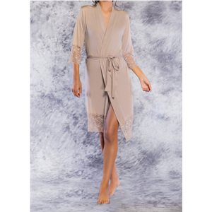 Women's Kimono Robe with Lace Trim | Color: Taupe | Material: 100% Bamboo Rayon | Available Sizes: S M L XL (PJ3012TAU)