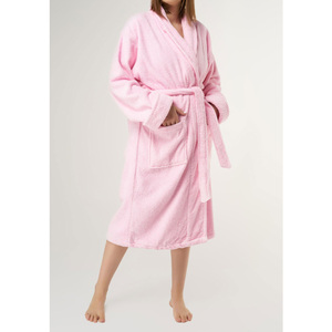 Unisex Shawl Collar Terry Bathrobe | Color: Pink | Material: 100% Turkish Cotton | Available Sizes: One Size Fits Most (4000PNK-OS)