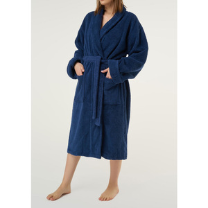 Unisex Shawl Collar Terry Bathrobe | Color: Navy Blue | Material: 100% Turkish Cotton | Available Sizes: One Size Fits Most (4000NAVY-OS)
