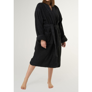 Unisex Shawl Collar Terry Bathrobe | Color: Black | Material: 100% Turkish Cotton | Available Sizes: One Size Fits Most (4000BLK-OS)
