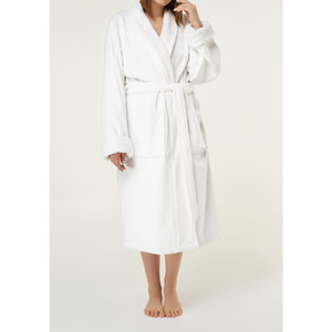 Unisex Shawl Collar Terry Bathrobe | Color: White | Material: 100% Turkish Cotton | Available Sizes: One Size Fits Most (4000WHT-OS)