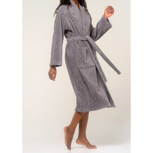 Unisex Terry Kimono Bathrobe | Color: Gray | Material: 100% Turkish Cotton | Available Sizes: SmallMedium LargeX-Large XX-Large (4020GRY)
