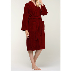 Unisex Terry Kimono Bathrobe | Color: Wine Red | Material: 100% Turkish Cotton | Available Sizes: SmallMedium LargeX-Large XX-Large (4020WRED)