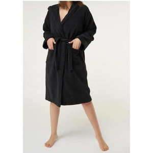 Unisex Heavy Weight Hooded Terry Bathrobe | Color: Black | Material: 100% Turkish Cotton | Available Sizes: SmallMedium One Size Fits Most (4040BLK)