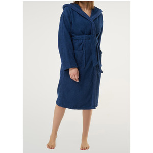 Unisex Heavy Weight Hooded Terry Bathrobe | Color: Navy Blue | Material: 100% Turkish Cotton | Available Sizes: SmallMedium One Size Fits Most (4040NAVY)