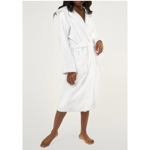 Unisex Heavy Weight Hooded Terry Bathrobe | Color: White | Material: 100% Turkish Cotton | Available Sizes: SmallMedium One Size Fits Most (4040WHT)