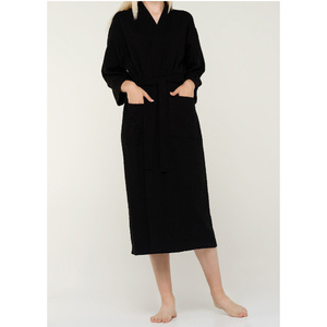 Unisex Diamond Pattern Waffle Kimono Robe | Color: Black | Material: 100% Turkish Cotton | Available Sizes: SmallMedium One Size Fits Most (7021BLK)