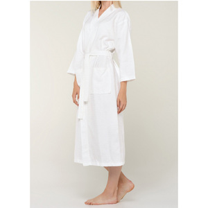 Unisex Diamond Pattern Waffle Kimono Robe | Color: White | Material: 100% Turkish Cotton | Available Sizes: SmallMedium One Size Fits Most (7021WHT)