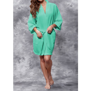 Women's Square Pattern Waffle Kimono Robe - Short Length | Color: Aqua Green | Material: 65% Natural Cotton 35% Polyester | Available Sizes: SmallMedium Large XX-Large (7063AQUA)