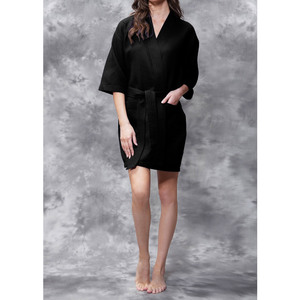 Women's Square Pattern Waffle Kimono Robe - Short Length | Color: Black | Material: 65% Natural Cotton 35% Polyester | Available Sizes: SmallMedium Large XX-Large (7063BLK)
