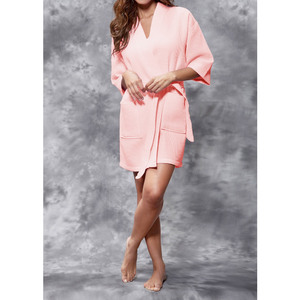 Women's Square Pattern Waffle Kimono Robe - Short Length | Color: Blush | Material: 65% Natural Cotton 35% Polyester | Available Sizes: SmallMedium Large XX-Large (7063BLSH)