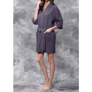 Women's Square Pattern Waffle Kimono Robe - Short Length | Color: Charcoal Gray | Material: 65% Natural Cotton 35% Polyester | Available Sizes: SmallMedium Large XX-Large (7063ANT)
